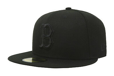 New Era 59Fifty Hat Mens MLB Boston Red Sox Black On Black Fitted 5950 Cap