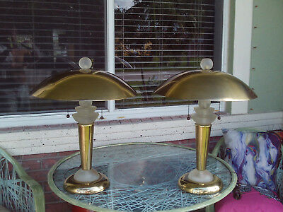 Pair Of Vintage Art Deco Brass And Frosted Lucite Table Lamps W/ Cymbal Shade