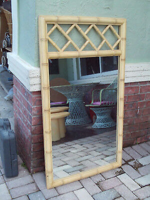 Mid Century Chinese Chippendale Faux Bamboo Wall Mirror By Lenoir