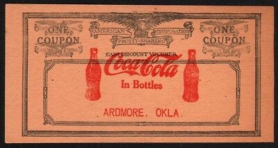 Vintage coupon COCA COLA 2 bottles and eagle Ardmore Oklahoma March 1927 Rare