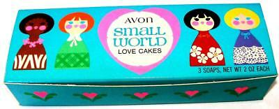 Avon Girls Accessories SMALL WORLD Love Cakes 3 heart Shaped Soaps 1970 NOS NIB