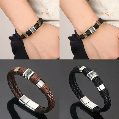 Men Women Leather Titanium Steel Magnetic Braided Clasp Bracelet Bangle Jewelry