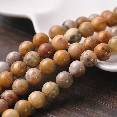 20pcs 10mm Natural Crazy Agate Stone Gemstone Loose Spacer Beads