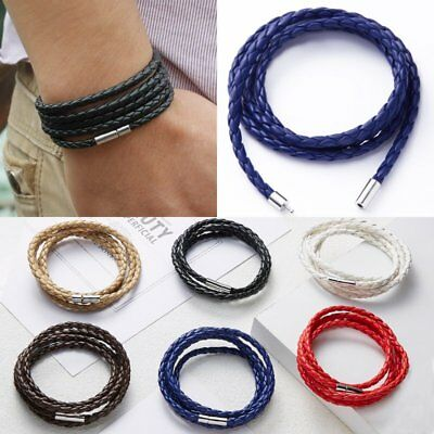 Fashion Handmade Wristband Wrap Cuff Unisex Women Men Braided Leather Bracelet