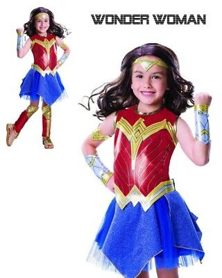 NEW Wonder Woman Girls Childs Costume - Diana Prince - Complete 7 Piece Costume!