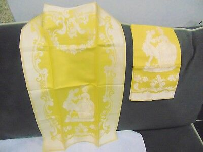 Lot of 2 Antique Yellow Gold Damask Figural Guest Towels 14 x 24
