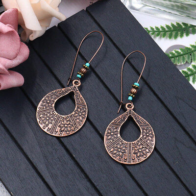 Fashion Women Vintage Bohemian Carved Flower Hook Ear Stud Drop Dangle Earrings