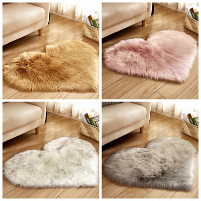 New Love Heart Shaped Shaggy Fluffy Rugs Anti-Skid Area Rug Carpet Bedroom UK