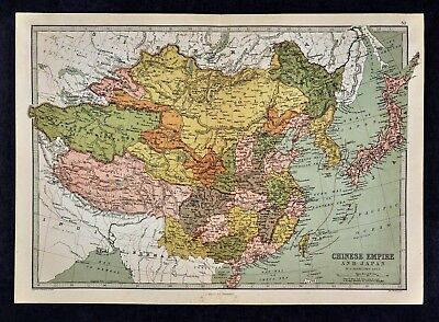 1876 Bartholomew Map Chinese Empire Japan China Korea Mongolia Tibet Taiwan Asia