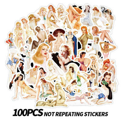 100 Graffiti Sexy Girl Stickers for Laptop Luggage Car Skateboard Guitar Bomb