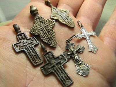 Mix ! Late Medieval Orthodox  Bronze + Vintage Sterling Silver Crosses! #847