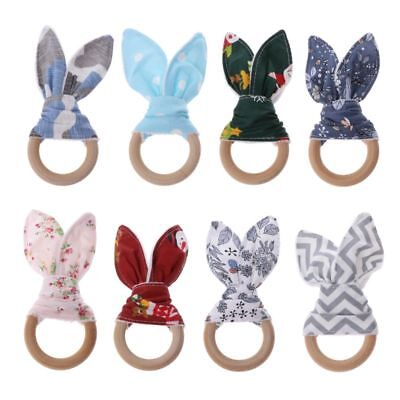 Christmas Baby Infants Bunny Ear Teething Ring Safety Wooden Chew Teether Toy