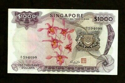 SINGAPORE 1000 1,000 DOLLARS P8 b 1975 VICTORIA THEATER ORCHID MONEY BANK NOTE