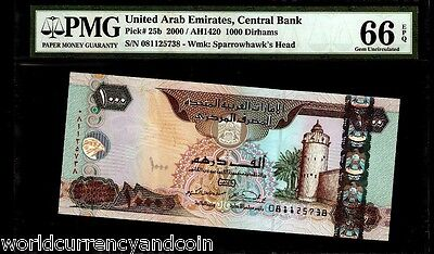 United Arab Emirates 1000 1,000 Dirhams P25 2000 Sparow Pmg66 Unc Uae Money Note