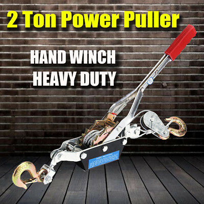 2 Ton Hand Winch Puller 2 Hooks 4x4 4WD UTE Truck Power Tool Hoist Car Trailer