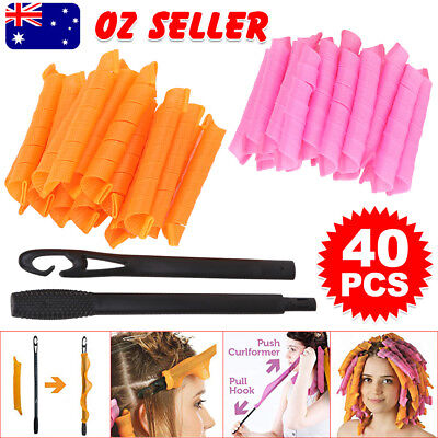40Pcs 50cm Newly Magic Hair Curlers Curl Former Spiral Ringlets Leverage Rollers