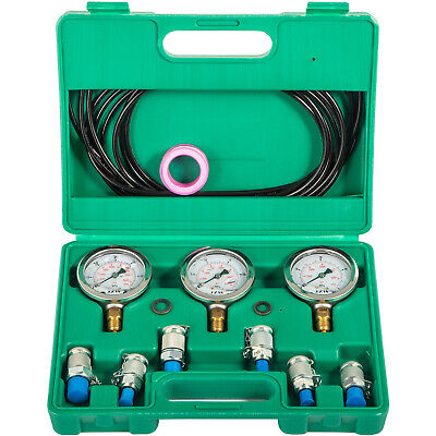 Hydraulic Pressure Test Kit 250~600Bar 6 Couplings 3 Hose 3 Gauge for Excavator