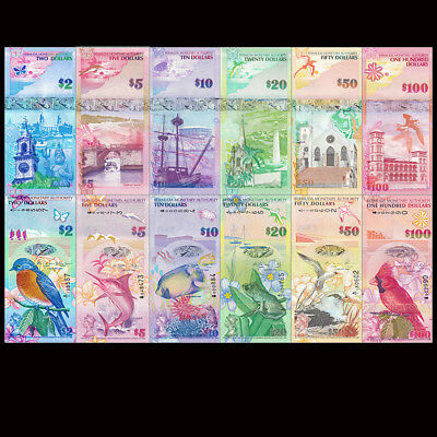 Bermuda Full Set 6 PCS, 2+5+10+20+50+100 Dollars, 2009, P-52-62, prefix vary,UNC
