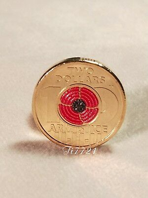 One UNC 2018 Remmberance Day-Armistice Centenary $2 coin(red poppy)from Mint Bag