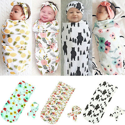 Newborn Infant Baby Swaddle Blanket Sleeping Swaddle Muslin Wrap Headband KW