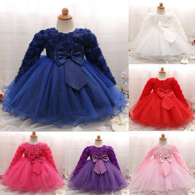 Baby Girl Princess Dress Bridesmaid Pageant Gown Birthday Party Wedding Dress KW