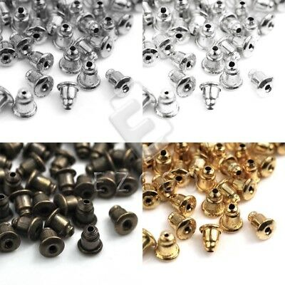 70pcs Bullet Plug Back Ear Nuts Stud Earring Stoppers 12x5mm Jewelry Finding