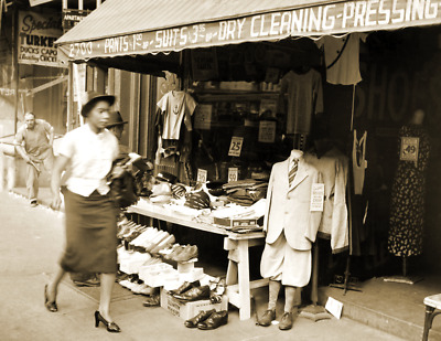 """1937 Dry Cleaning, Harlem, New York City Vintage Old Photo 8.5"""" x 11"""" Reprint"""