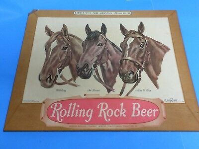 Vintage Rolling Rock Beer Sign ,with Three Triple Crown Race Horses, 18 X 14 ""