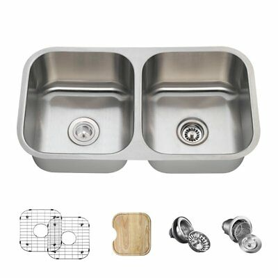 502 Double Bowl Stainless Steel Sink, Cutting Board, Two Grids, and Standard and