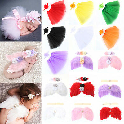 Cute Newborn Baby Pearl Flower Headband With Angel Wing Photo Photography Prop
