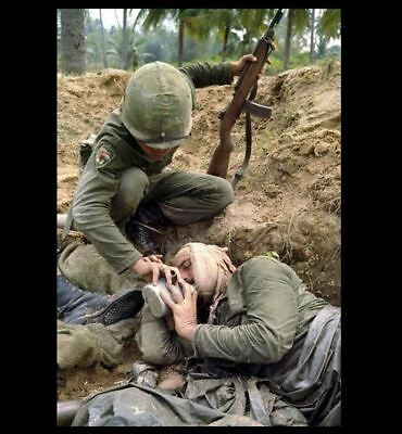 Vietnam War Quenching Thirst of Wounded Buddy PHOTO US Army Canteen Rifle