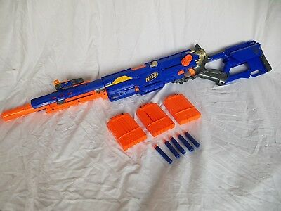 Nerf Longstrike Sniper Rifle Gun Magazine And Dart Bullets Ammo Blue