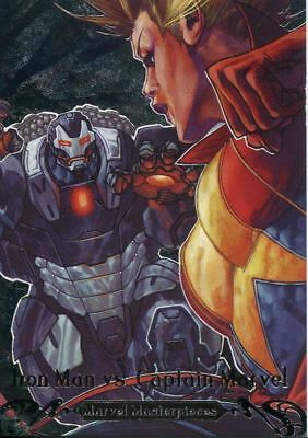 Marvel Masterpieces 2018 Battle Spectra Chase Card BS-13 Iron Man vs. Cap Marvel