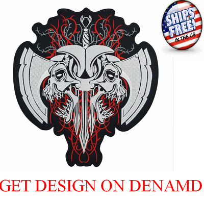 Fashion Skull Embroidered Patches for Full Back Size of Jackets Motorcycle Biker