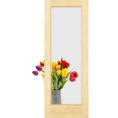"Frameport FA_3226425W Unfinished Clear Glass 30"" by 80"" 1 Lite Passage Door"