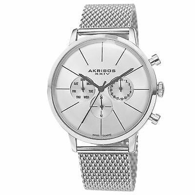 Akribos XXIV Men's Sunray Dial Multifunction Stainless Steel Mesh Silver-Tone