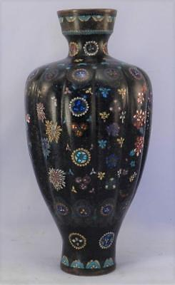 Antique 19thC Japanese Meiji Period Cloisonne Ribbed Vase~Flowers~Iridescent~VGC