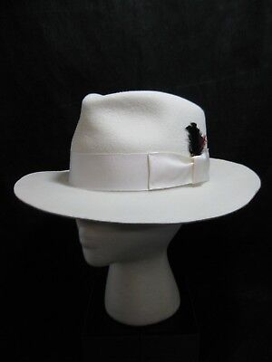 cad0a8801 ZOOT WOOL FELT Fedora Hat Ivory USA Made Winter Hat Size Large 9956