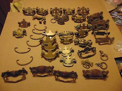 39 old misc antique Vintage Heavy Duty Drawer Pull Handles parts many Brass