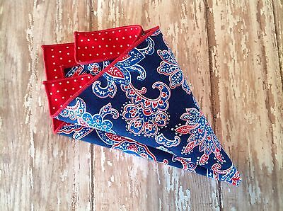 NEW Pocket Square Paisley Floral Red Blue Reversible Gift American