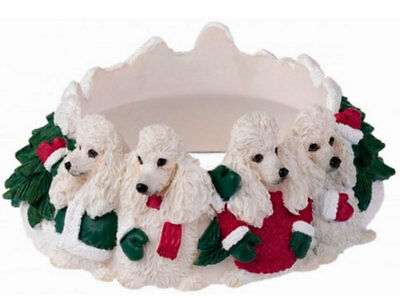 Poodle Holiday Candle Topper Ring White