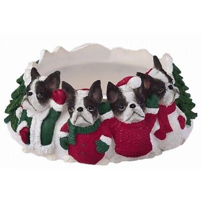 Boston Terrier Holiday Candle Topper Ring
