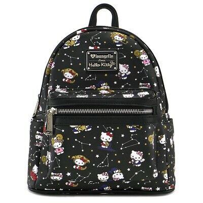 $ New LOUNGEFLY SANRIO School Bag Backpack HELLO KITTY Faux Leather BLACK STARS