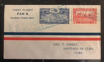1929 St Domingo Dominican Rep First Fight Airmail Cover FFC To Spanish Antilles