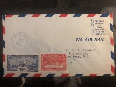1929 St Domingo Dominican Republic first flight cover FFC To San Juan Puerto Ric