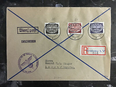 1940 Krakow Poland GG Cover to H Sieger Lorch Germany Official Stamp Dienstpost
