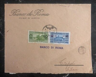 1940 Aleppo Syria Bank Of Rome Registered Cover To Tripoli Lebanon
