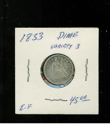 10 Cents Us Dime 1853 Arrows Fleches Liberty Seated Assise