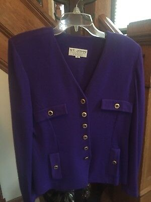St John Knits Collection By Marie Gray Stunning Purple Suit Jacket Size 8