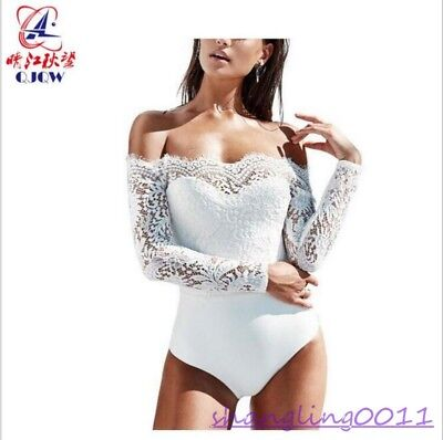 Womens Sexy Lace One Piece Hollow out Off shoulder Tops Stretch Blouses Fashion